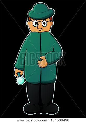 Cartoon illustration of a detective with magnifying glass