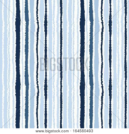 Seamless striped pattern. Vertical narrow lines. Torn paper, shred edge texture. Gray, blue, white colored background. Cold sea theme. Vector