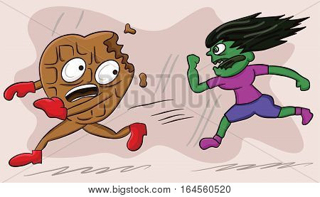 Cartoon illustration of a zombie woman chasing heart shaped chocolate bar