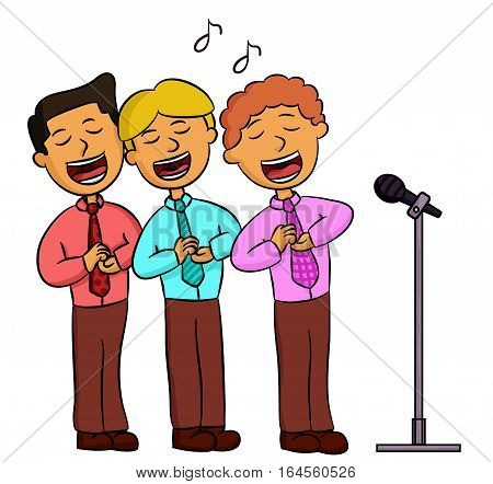 Cartoon illustration of choir men singing. People vector characters.