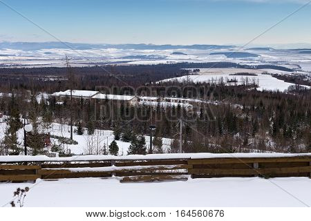 View from the Horny Smokovec to High Tatras region. Horny Smokovec is a popular spa village in Slovakia. Located at an altitude of 890 meters above sea level.