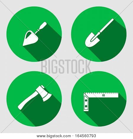 Tool icon set. Trowel, spattle, surfacer, axe, hache, shovel, spade, angle. Work, job, labour, toil, repair, fix, plane, building symbol. White sign on round green button with long shadow. Vector isolated