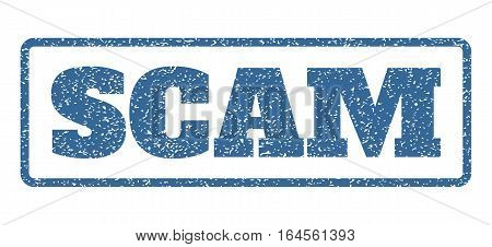Cobalt Blue rubber seal stamp with Scam text. Vector message inside rounded rectangular shape. Grunge design and scratched texture for watermark labels. Horisontal sticker on a white background.