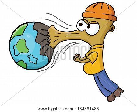 Earth Sucker Industrial Monster Cartoon. Vector illustration.