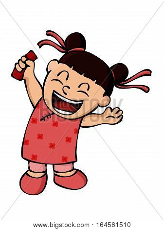 Happy Little Girl Holding Ang Pow Packet or Red Envelope in Chinese New Year