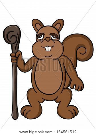 Cartoon illustration of an old squirrel with wooden walking stick