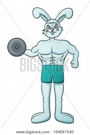 Cartoon illustration of a muscular rabbit lifting dumbbell