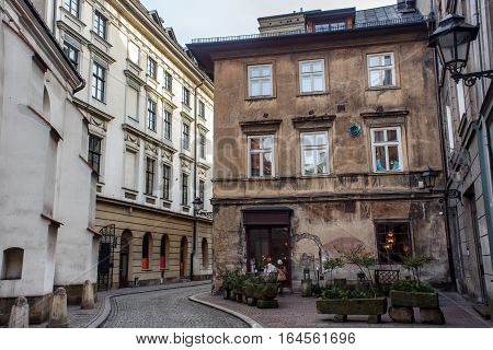 Corner of Doubting Thomas in historical part of Krakow (Poland). Popular place in old town for the creative people and tourists.