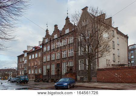 Historical buildings in the historical part of city. Gdansk is a Polish city on the Baltic coast and popular center of tourism.