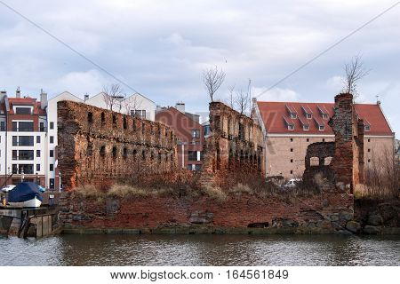 Granary island with old brick ruins before reconstruction. Is the warehousing area of Gdansk economic centre and port on the Motlawa River.