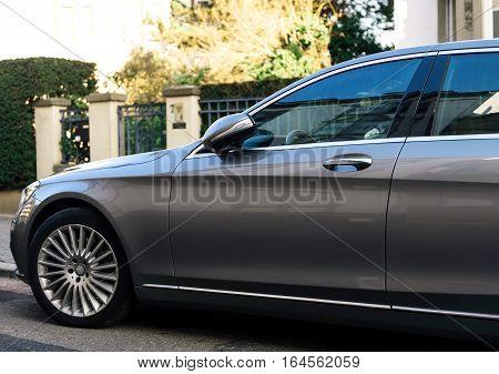 STRASBOURG FRANCE - DEC 25 2015: Luxury Mercedes-Benz S Klass detail on European city street