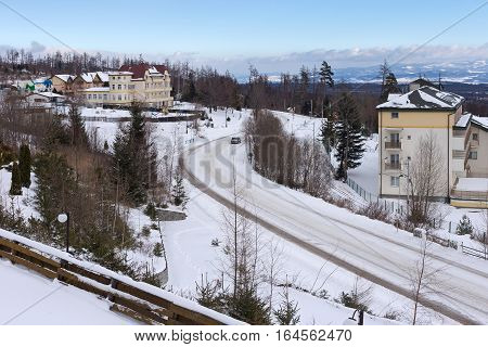 Center of the Horny Smokovec. Is a popular ski village in the Slovakia. Located in the mountains of the High Tatras at an altitude of 950 meters above sea level.