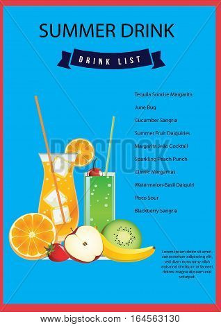 fresh summer drinks poster, This design is suitable for a brochure, banner or poster