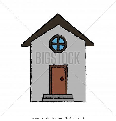 drawing house building town residence vector illustration eps 10