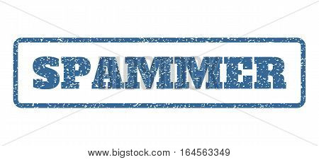 Cobalt Blue rubber seal stamp with Spammer text. Vector tag inside rounded rectangular banner. Grunge design and dust texture for watermark labels. Horisontal emblem on a white background.