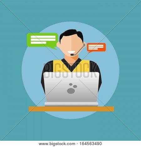 Hepldesk or customer service concept. flat design