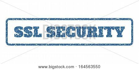 Cobalt Blue rubber seal stamp with SSL Security text. Vector message inside rounded rectangular banner. Grunge design and scratched texture for watermark labels.
