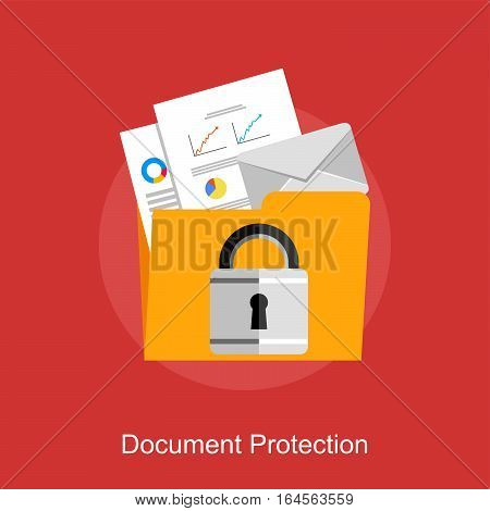 Document protection data protection or document management concept illustration.