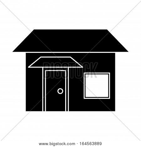 silhouette house real state two story vector illustration eps 10