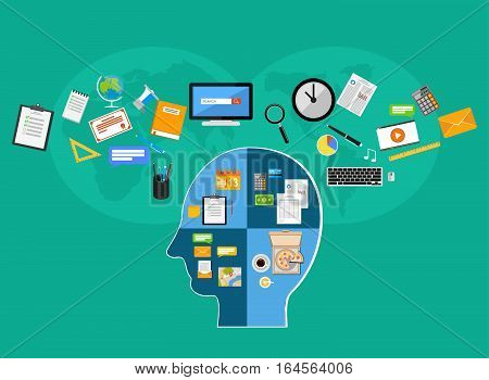 Human learning human brainstorming or human thinking concept illustration. College supplies.