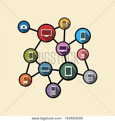 Pervasive computing or distributed system concept illustration. Flat design.