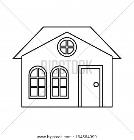 house family architectural suburban outline vector illustration eps 10