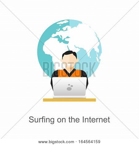 Surfing on the internet concept. flat desgin
