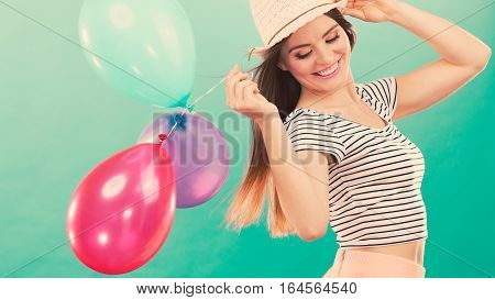 Happy Girl Playing With Colorful Balloons.