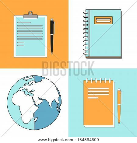 Line icons set with flat design elements of e-learning books for education basic and elementary study and globe.