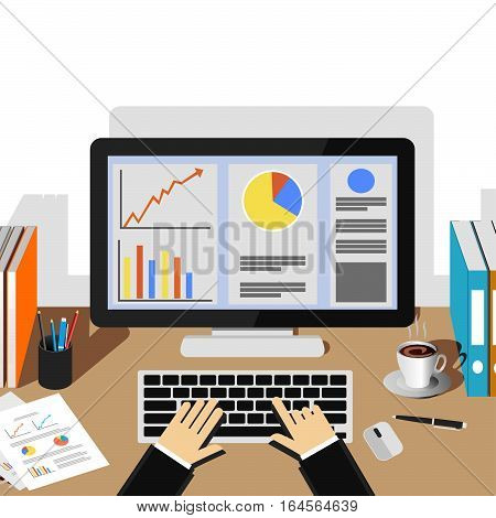 Businessman working with desktop. Business analysis and evaluation concept illustration. Flat design illustration concepts for business growth management business statistics monitoring workplace.