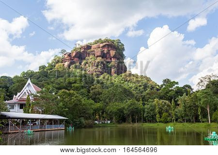 Phu tok mountain or Wat Jetiyakiree Viharn Temple with wooden trail round of the 7 floors mountain at Bueng Kan Province Thailand