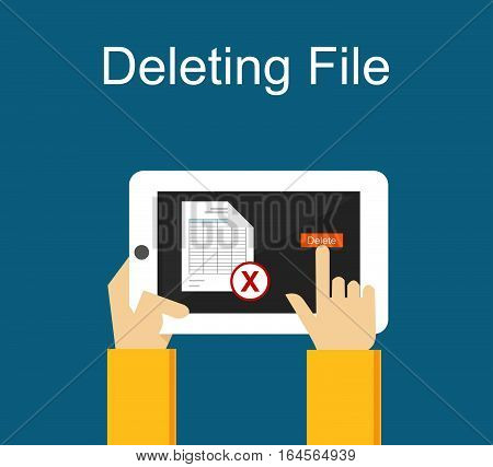 Deleting file on gadget concept illustration for web banner or design element.