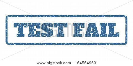 Cobalt Blue rubber seal stamp with Test Fail text. Vector tag inside rounded rectangular frame. Grunge design and scratched texture for watermark labels. Horisontal emblem on a white background.