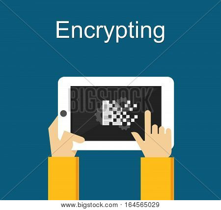 Encrypting file on gadget concept for web banner, or design element