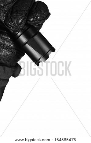 Gloved Hand Holding Tactical Flashlight, Bright Light Emiting Brightly Lit, Serrated Strike Bezel, Black Grain Leather Glove And Cop Jacket, Large Detailed Isolated Vertical Closeup, Patrolling Police Security Guard Staff Policeman, Patrol Operations