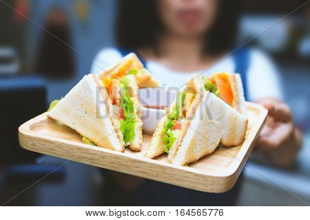 Sandwich ready to eat. serving the customers