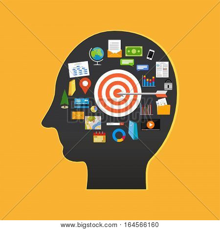 Human goal or target. Target goal in human head. Success in life concept illustration.