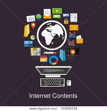 Internet contents web content search engine concept flat design for web banner, web element, or infopgrahics element