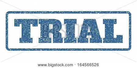 Cobalt Blue rubber seal stamp with Trial text. Vector message inside rounded rectangular frame. Grunge design and unclean texture for watermark labels. Horisontal sticker on a white background.