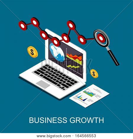 Business growth. Monitoring business profit. Flat 3d isometric concept for web banner, web element, or infographic.
