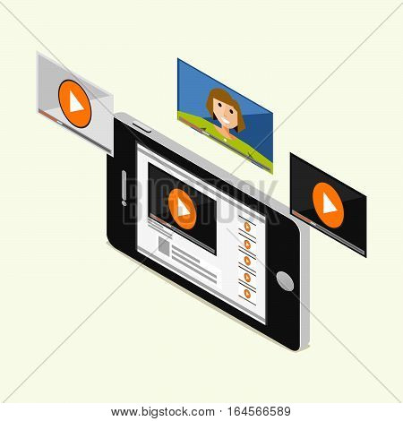Video streaming with mobile phone concept. Isometric 3d flat. Video tutorial Video call watching video.