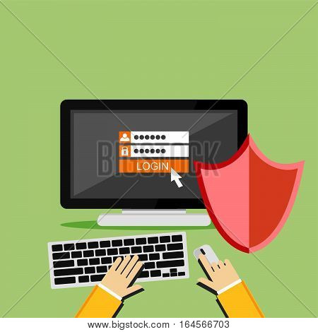 Password and username. Personal computer protection. Computer with shield. Antivirus.flat design for web banner, web element, or infographic
