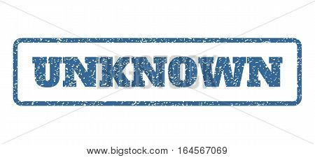 Cobalt Blue rubber seal stamp with Unknown text. Vector tag inside rounded rectangular frame. Grunge design and dust texture for watermark labels. Horisontal sign on a white background.