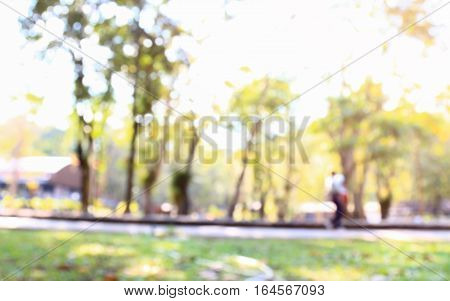 Blurred photo of people in public park