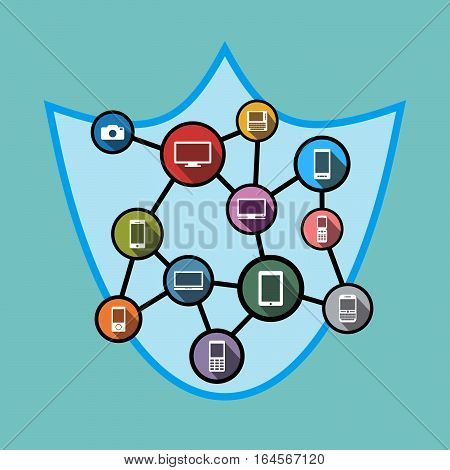 Network security concept illustration. Network with shield. Symbol of network security for web banner or web element