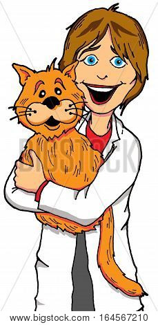 Cartoon of a Lady Veterinarian holding a Cat