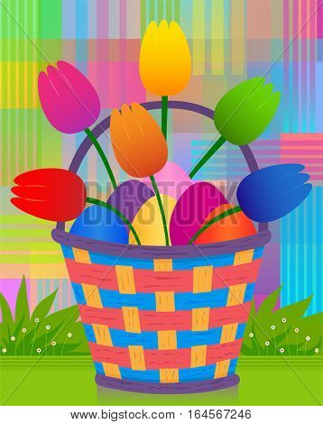 Colorful and radiant design of Easter basket with eggs and tulips. Eps10