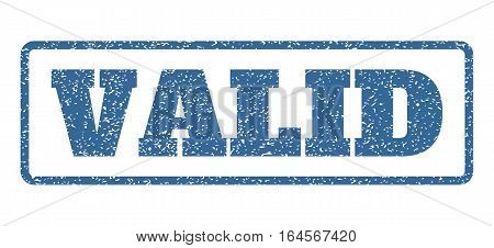 Cobalt Blue rubber seal stamp with Valid text. Vector message inside rounded rectangular frame. Grunge design and unclean texture for watermark labels. Horisontal sticker on a white background.