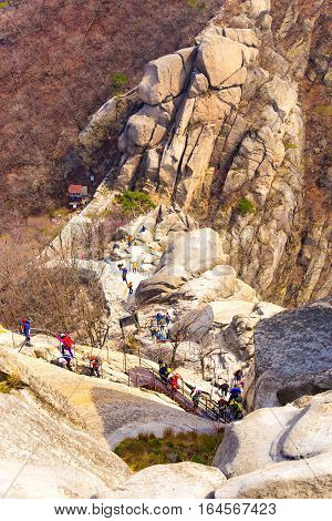 Bukhansan Mountain Queue Climbers Hiking Path