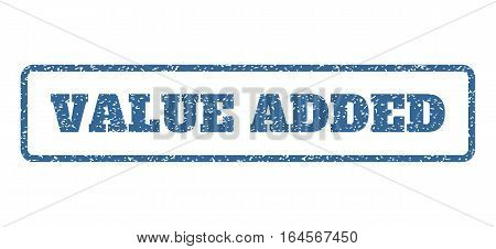Cobalt Blue rubber seal stamp with Value Added text. Vector message inside rounded rectangular banner. Grunge design and dust texture for watermark labels. Horisontal sticker on a white background.